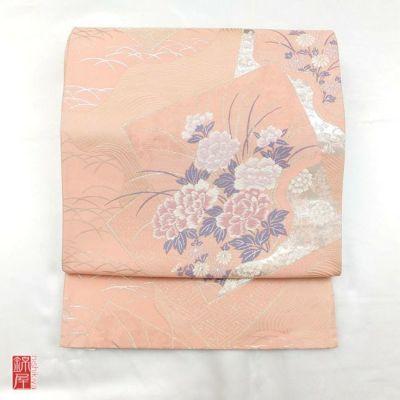 正絹袋帯 六通柄 良品 ピンク地に花柄