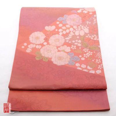 正絹袋帯 太鼓柄 良品 ピンク地に花柄