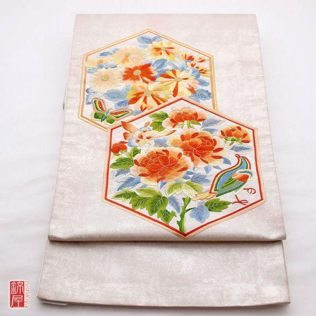 正絹 引箔刺繍袋帯 太鼓柄 良品_画像1