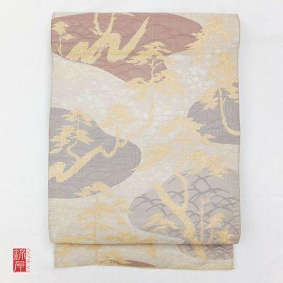 正絹 袋帯 六通柄 多色使い地に木の葉・植物柄