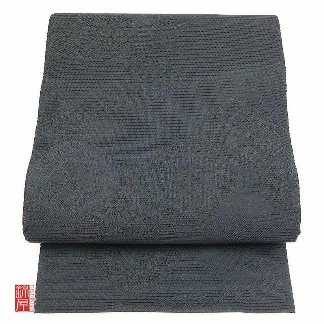 正絹 夏袋帯 絽 お悔やみ用 全通柄 良品_画像1