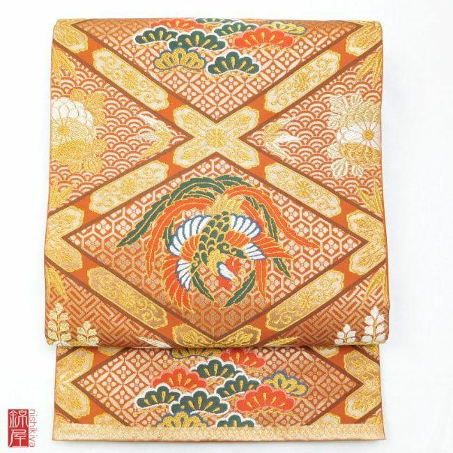 正絹 北出工芸 松鳳舞楽菱文 袋帯 六通柄 美品_画像1