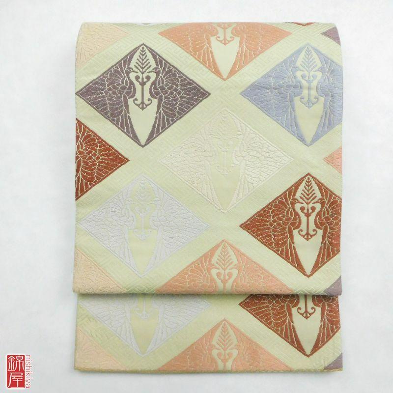 袋帯 有職唐織文 六通柄 正絹 良品_画像1