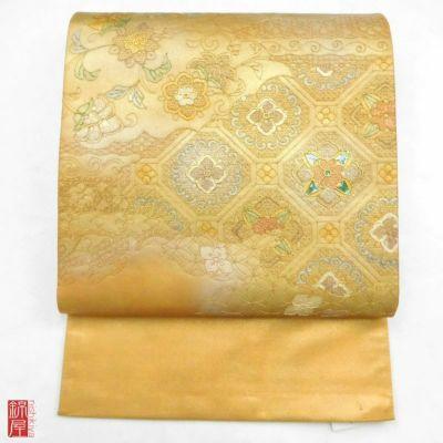 袋帯 金彩 太鼓柄 正絹 良品 金・銀地に古典柄