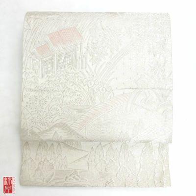 袋帯 六通柄 正絹 金・銀地に風景柄 フォーマル用
