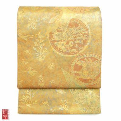 袋帯 「青銅箔」 引箔 六通柄 正絹 良品