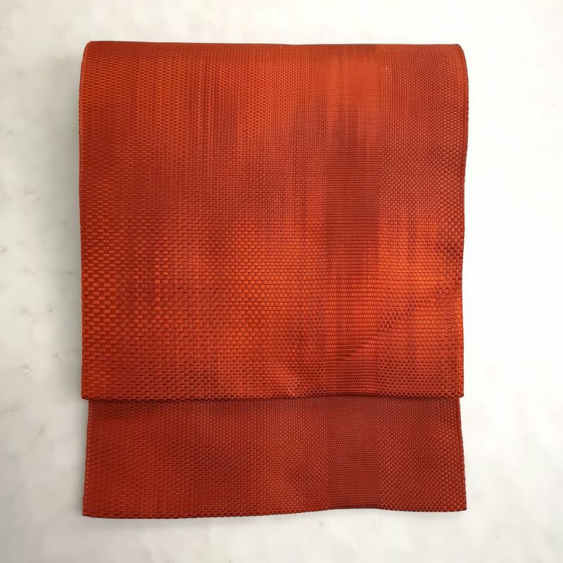 八寸名古屋帯 全通柄 松葉仕立て 正絹 美品 橙地にチェック・格子柄画像_1