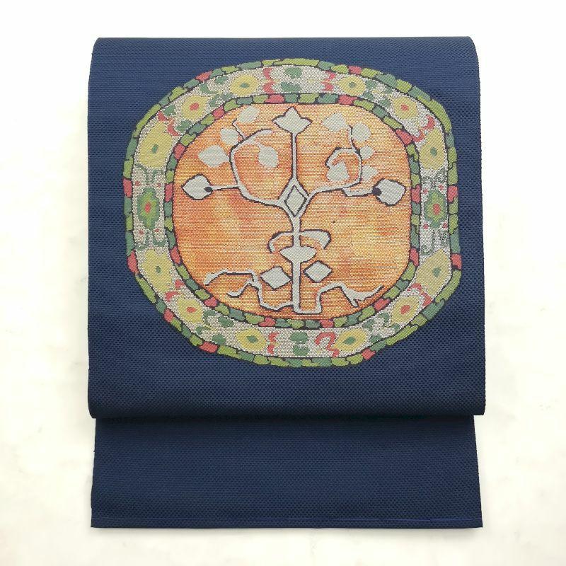 八寸名古屋帯 太鼓柄 松葉仕立て 正絹 良品 青・紺地に幾何学柄・抽象柄画像_1