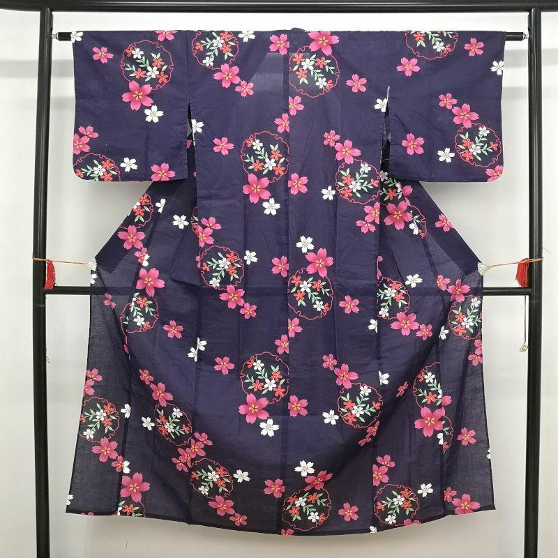 浴衣 女性用 綿 紫・藤色地に花柄画像_1