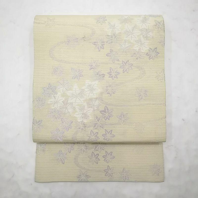 夏用 絽 袋帯 六通柄 正絹 黄・黄土色地に花柄・木の葉・植物柄 フォーマル用_画像1
