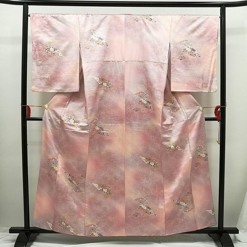 小紋 金銀箔 正絹 良品 ピンク地に流水・波柄・古典柄_画像1
