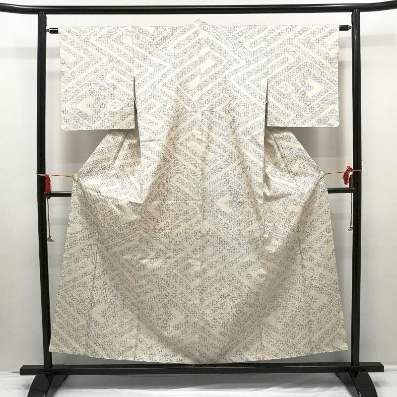 平織紬 正絹 クリーム地に幾何学柄・抽象柄_画像1
