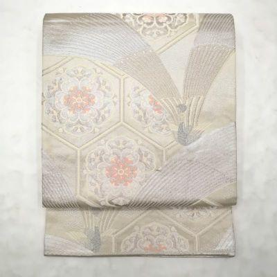 袋帯 唐織 正絹 良品 金・銀地に古典柄 フォーマル用