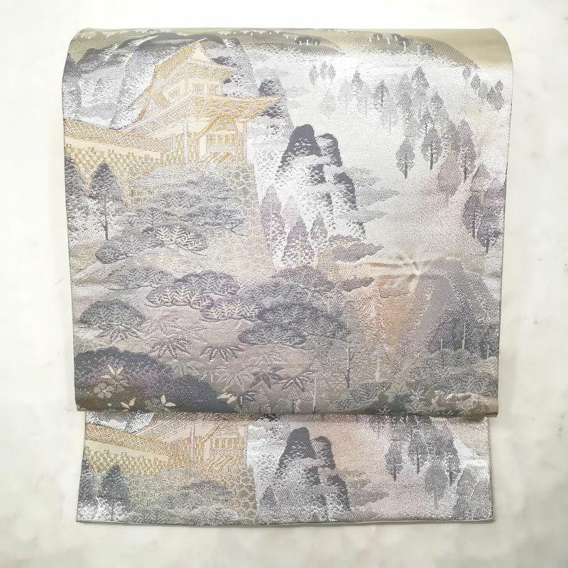袋帯 嵯峨野風景 六通柄 正絹 金・銀地に風景柄 フォーマル用_画像1