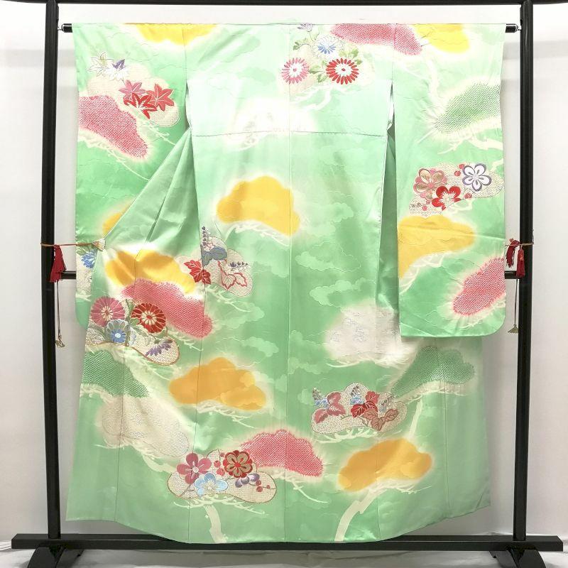振袖 絞り 金彩 金駒刺繍 アンティーク調 正絹 緑・うぐいす色地に花柄・雲柄_画像1