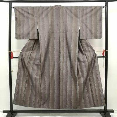 平織紬 正絹 良品 茶地に幾何学柄・抽象柄