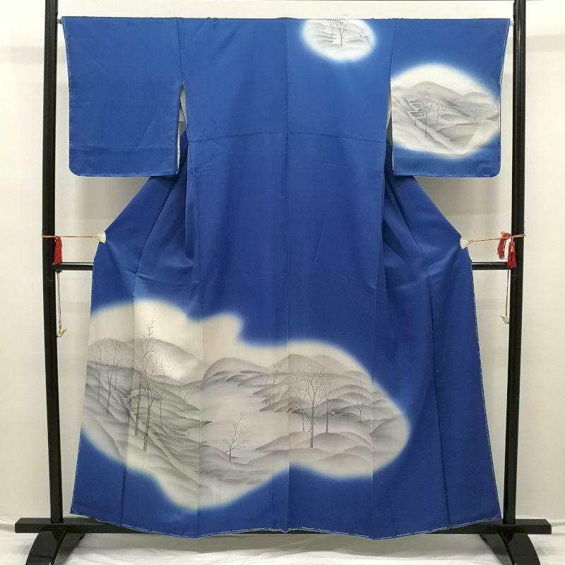 訪問着 手描き 長襦袢セット 正絹 美品 青・紺地に風景柄_画像1