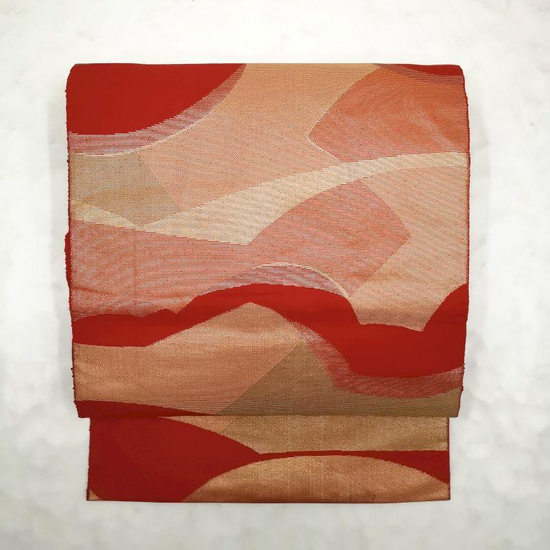 八寸名古屋帯 六通柄 名古屋仕立て 正絹 良品 赤・朱地に幾何学柄・抽象柄_画像1