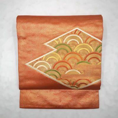 九寸名古屋帯 金駒刺繍 太鼓柄 名古屋仕立て 正絹 美品 橙地に古典柄