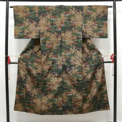織柄紬 正絹 多色使い地に風景柄