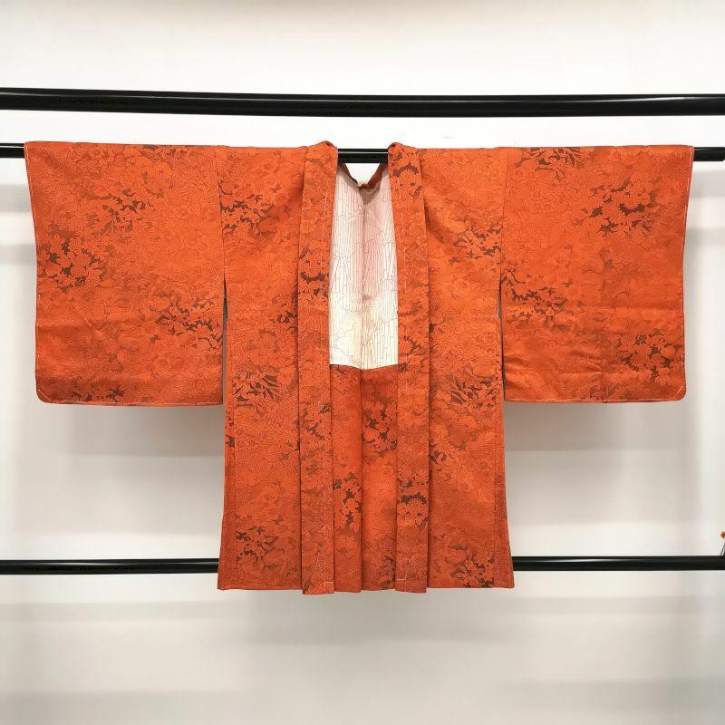 羽織 正絹 美品 橙地に花柄・木の葉・植物柄_画像1