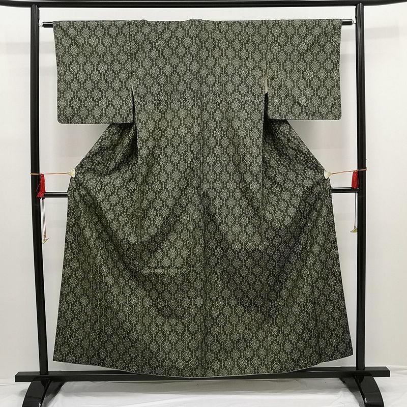 織柄紬 正絹 緑・うぐいす色地に幾何学柄・抽象柄_画像1