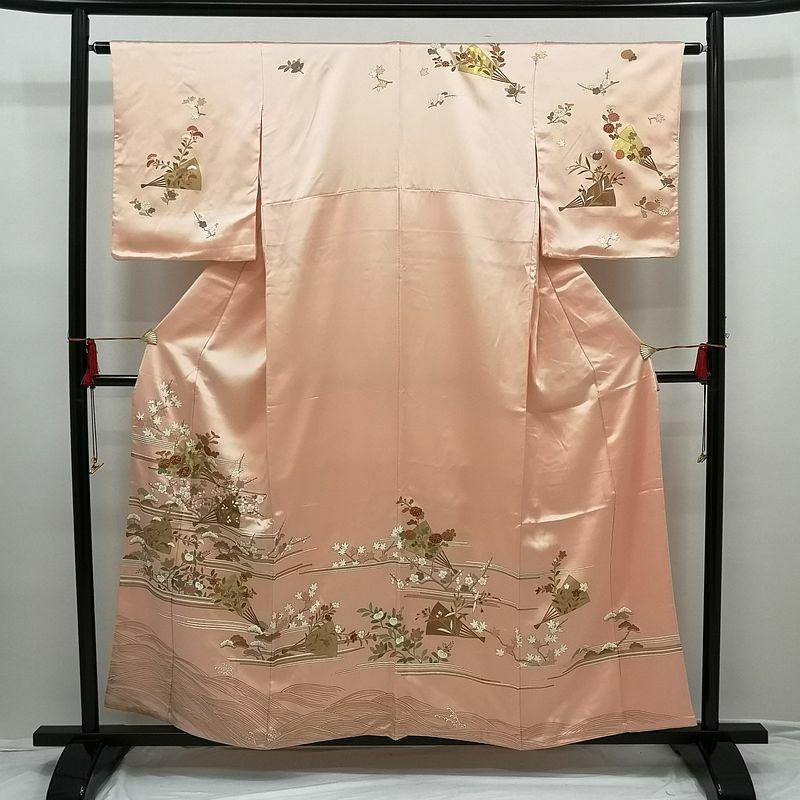 正絹訪問着 金箔金駒刺繍 ピンク地に古典柄 長襦袢付き_画像1