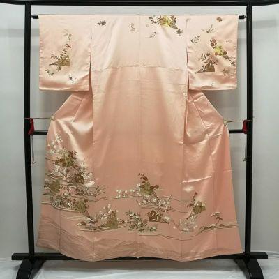 正絹訪問着 金箔金駒刺繍 ピンク地に古典柄 長襦袢付き
