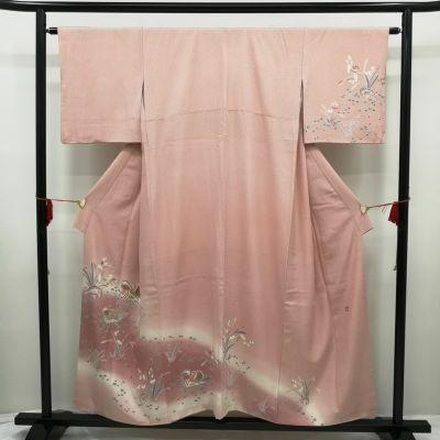 訪問着 金箔 ぼかし染 蒔糊 正絹 良品 ピンク地に花柄