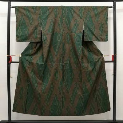 織柄紬 正絹 良品 緑・うぐいす色地に木の葉・植物柄