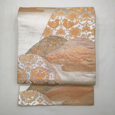 袋帯 六通柄 正絹 金・銀地に古典柄 フォーマル用