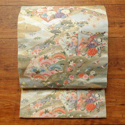 袋帯 六通柄 良品 フォーマル用 正絹 古典柄 金・銀