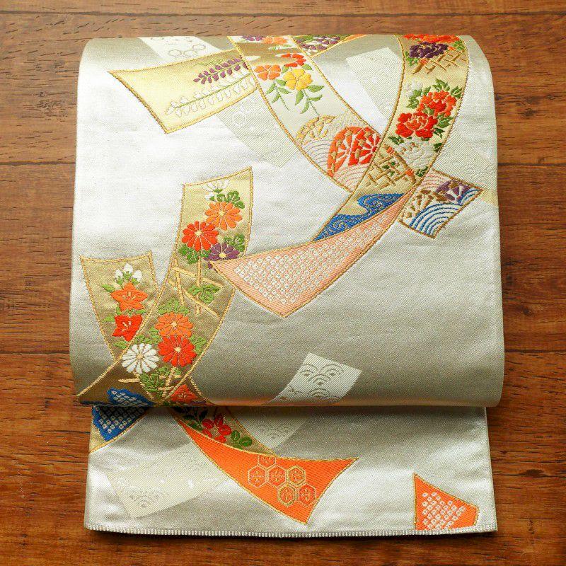 袋帯 六通柄 フォーマル用 正絹 古典柄 金・銀_画像1