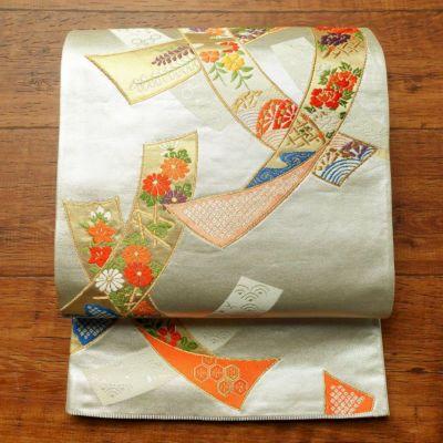 袋帯 六通柄 フォーマル用 正絹 古典柄 金・銀