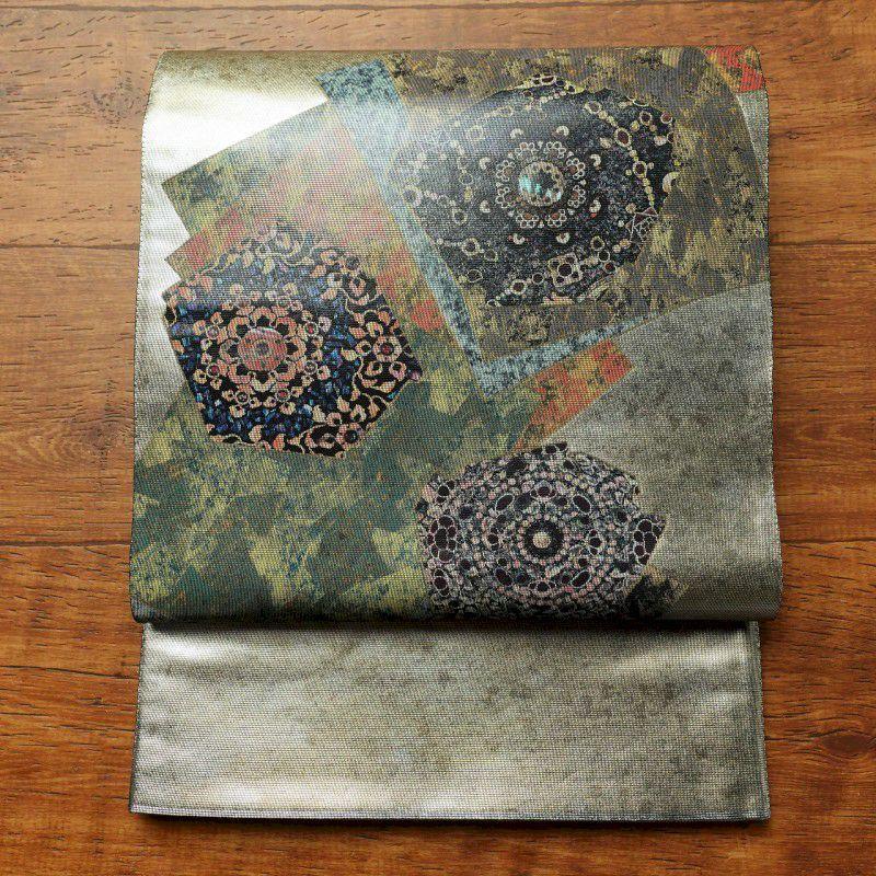 袋帯 太鼓柄 良品 フォーマル用 正絹 幾何学柄・抽象柄 金・銀_画像1