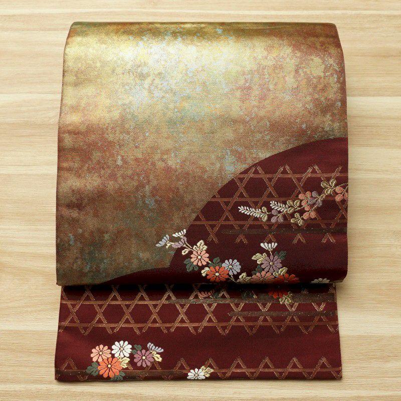 袋帯 六通柄 美品 フォーマル用 正絹 花柄 小豆・エンジ_画像1