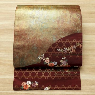 袋帯 六通柄 美品 フォーマル用 正絹 花柄 小豆・エンジ