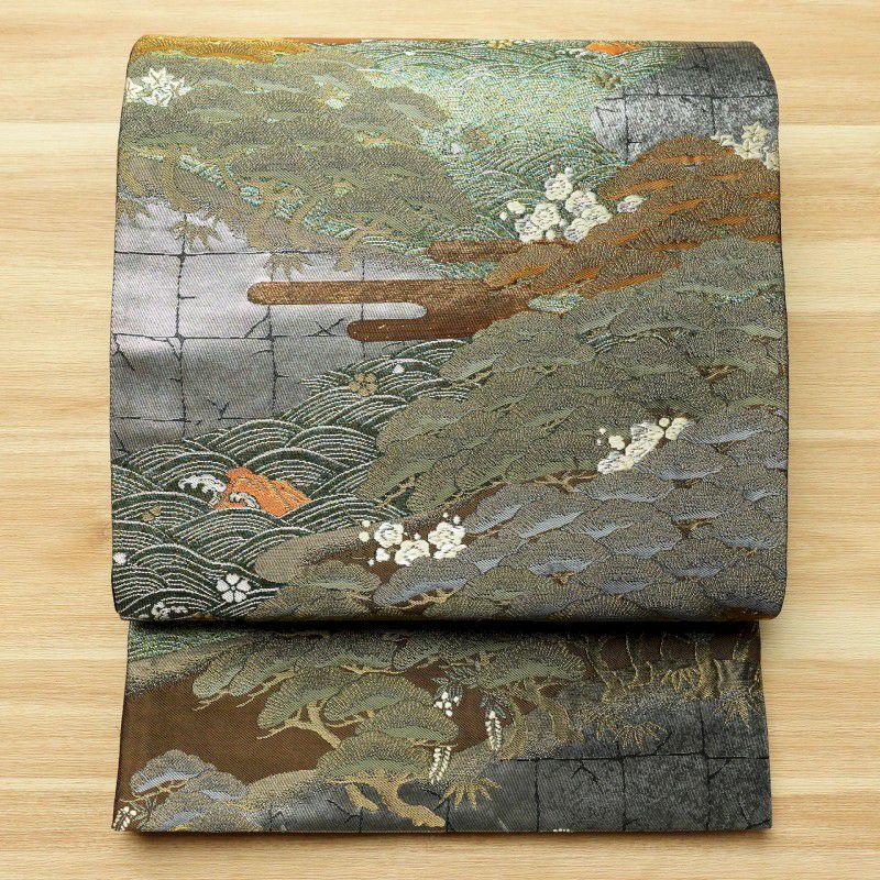 袋帯 六通柄 良品 フォーマル用 正絹 流水・波柄 木の葉・植物柄 多色使い_画像1