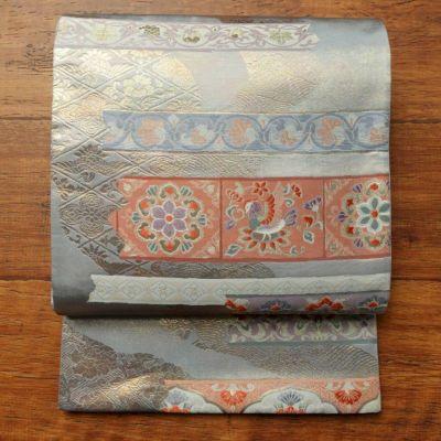 袋帯 六通柄 フォーマル用 正絹 古典柄 青・紺