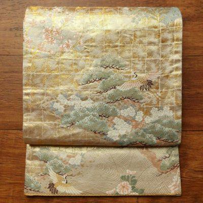 袋帯 六通柄 本金箔 フォーマル用 正絹 古典柄 クリーム