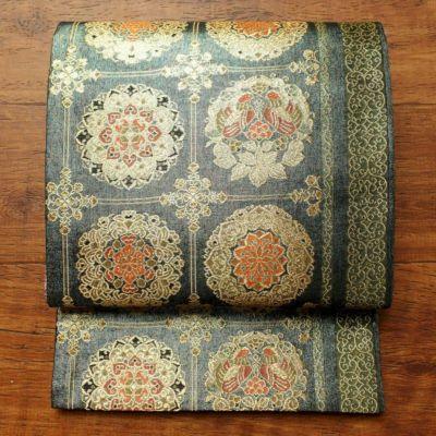 袋帯 六通柄 美品 フォーマル用 正絹 幾何学柄・抽象柄 緑・うぐいす色
