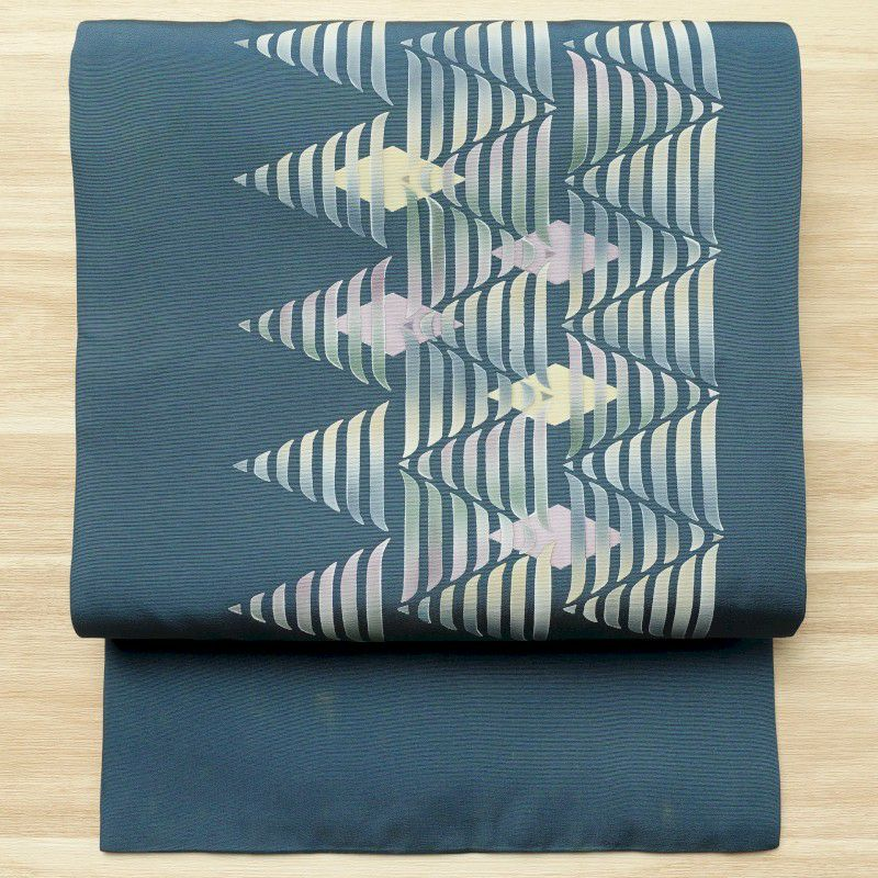 名古屋帯 正絹 幾何学柄・抽象柄 名古屋仕立て 青・紺_画像1