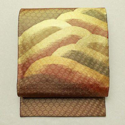 袋帯 太鼓柄 フォーマル用 正絹 流水・波柄 金・銀