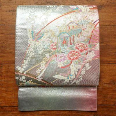 帯反物 フォーマル用 正絹 古典柄 金・銀