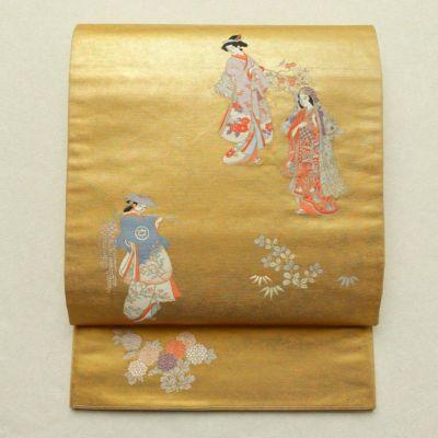 袋帯 太鼓柄 フォーマル用 正絹 人物・動物柄 金・銀